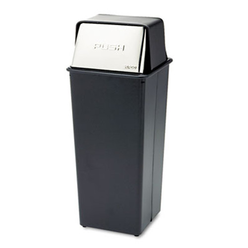 Safco Reflections Push Top Square Receptacle  Steel  21 gal  Black Chrome (SAF9893)