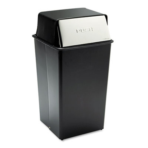 Safco Reflections Push Top Square Receptacle  Steel  36 gal  Black Chrome (SAF9895)