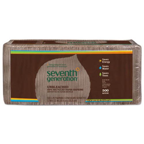 Seventh GenerationA 100% Recycled Napkins, 1-Ply, 12 x 12, Unbleached, 500/Pack (SEV13705PK)