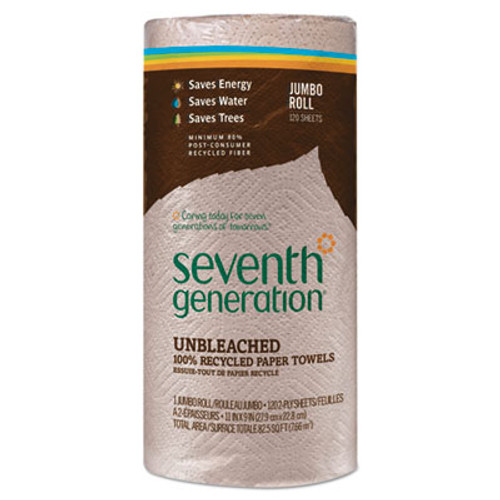 Seventh Generation Natural Unbleached 100% Recycled Paper Towel Rolls, 11 x 9, 120 Sheets/Roll (SEV13720RL)