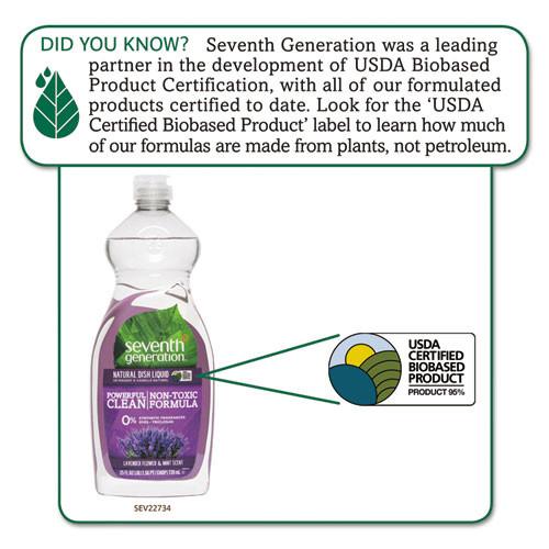 Seventh Generation Natural Dishwashing Liquid  Lavender Floral and Mint  25 oz Bottle (SEV22734EA)