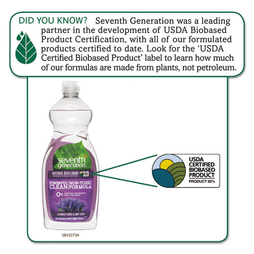 Seventh Generation Natural Dishwashing Liquid  Lavender Floral and Mint  25 oz Bottle (SEV22734EA)