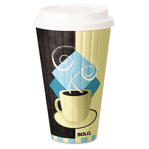 Dart Duo Shield Insulated Paper Hot Cups  20oz  Tuscan  Chocolate Blue Beige  350 Ct (SCCIC20J7534)