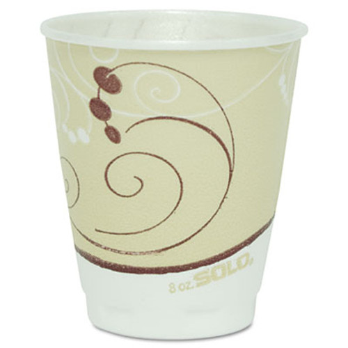 SOLO Cup Company Symphony Design Trophy Foam Hot/Cold Drink Cups, 8oz, Beige, 100/Pack (SCCX8J8002PK)