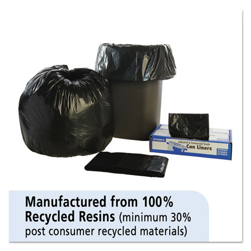 Stout by Envision Total Recycled Content Plastic Trash Bags  33 gal  1 3 mil  33  x 40   Brown Black  100 Carton (STOT3340B13)