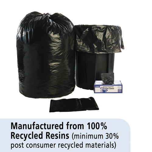 Stout by Envision Total Recycled Content Plastic Trash Bags  60 gal  1 5 mil  36  x 58   Brown Black  100 Carton (STOT3658B15)