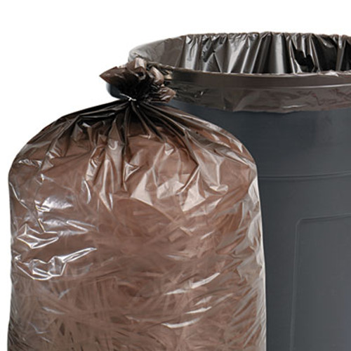 Stout 100% Recycled Plastic Garbage Bag, 55-60gal, 1.5mil, 38x60, Brown/Black, 100/CT (STOT3860B15)