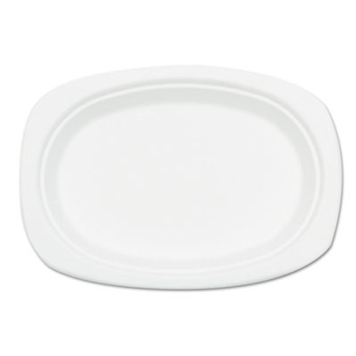 NatureHouse Compostable Sugarcane Bagasse Oval Plate  9 x 6 5  White  50 Pack (SVAP009)