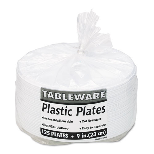 Tablemate Plastic Dinnerware  Compartment Plates  9  dia  White  125 Pack (TBL19644WH)