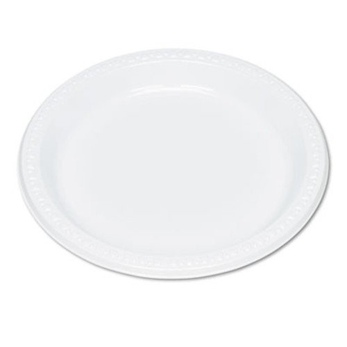 Tablemate Plastic Dinnerware  Plates  9  dia  White  125 Pack (TBL9644WH)