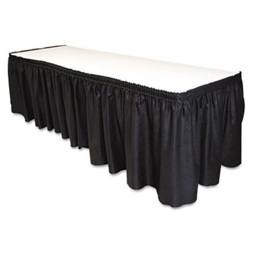 Tablemate Table Set Linen-Like Table Skirting  29  x 14ft  Black (TBLLS2914BK)
