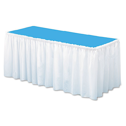 Tablemate Table Set Linen-Like Table Skirting  29  x 14ft  White (TBLLS2914WH)