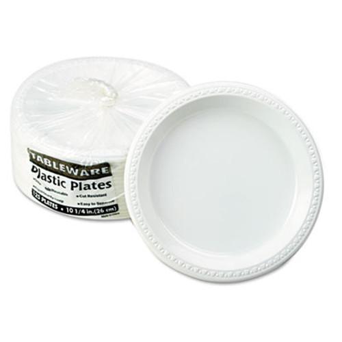 Tablemate Plastic Dinnerware  Plates  10 1 4  dia  White  125 Pack (TBLTM10644WH)
