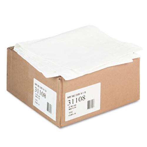 Tatco Paper Table Cover  Embossed  w Plastic Liner  54  x 108   White  20 Carton (TCO31108)