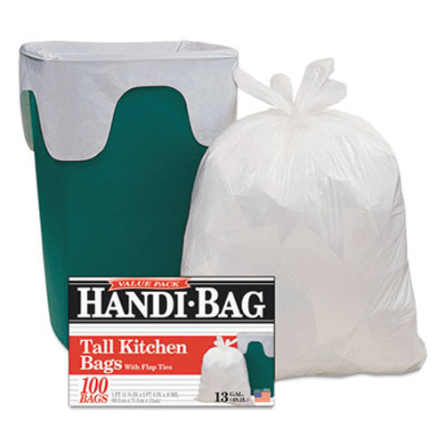 Handi-Bag Super Value Pack Trash Bags, 13gal, 0.6mil, 23 3/4 x 28, White, 100/Box (WBIHAB6FK100)