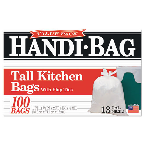 Handi-Bag Super Value Pack  13 gal  0 6 mil  23 75  x 28   White  100 Box (WBIHAB6FK100)
