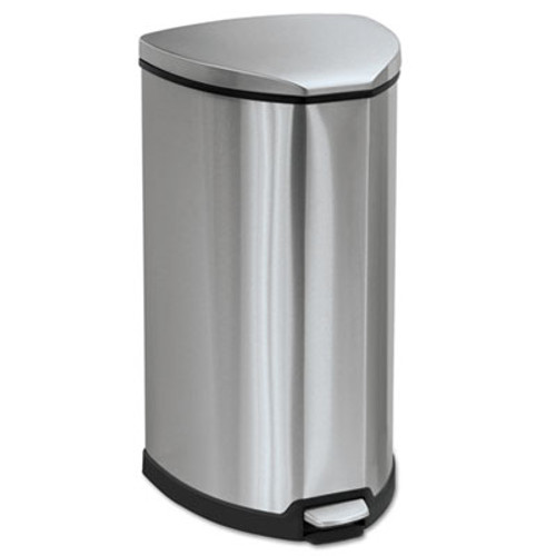 Safco Step-On Waste Receptacle, Triangular, Stainless Steel, 10gal, Chrome/Black (SAF9687SS)