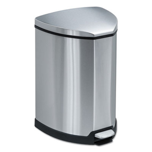 Safco Step-On Waste Receptacle  Triangular  Stainless Steel  4 gal  Chrome Black (SAF9685SS)