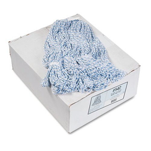 Boardwalk Mop Head  Floor Finish  Narrow  Rayon Polyester  Medium  White Blue  12 Carton (BWK542CT)