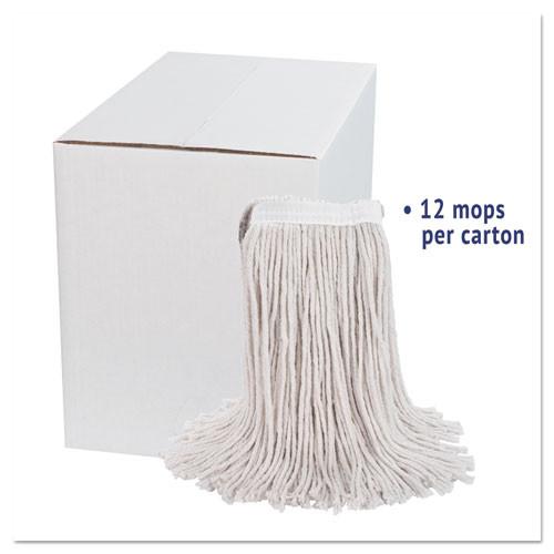Boardwalk Premium Cut-End Wet Mop Heads  Cotton  24oz  White  12 Carton (BWK224CCT)