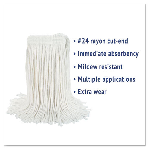 Boardwalk Cut-End Wet Mop Head  Rayon  No  24  White (BWK2024REA)