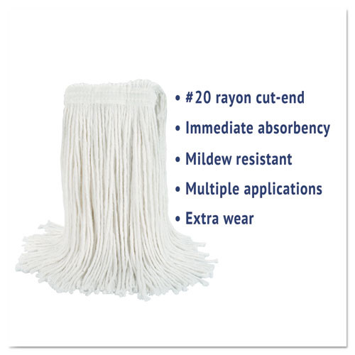 Boardwalk Cut-End Wet Mop Head  Rayon  No  20  White (BWK2020REA)