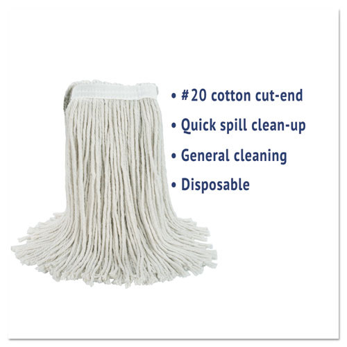 Boardwalk Cut-End Wet Mop Head  Cotton  No  20  White (BWK2020CEA)