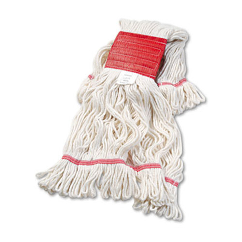 Boardwalk Super Loop Wet Mop Head  Cotton Synthetic Fiber  5  Headband  Large Size  White (BWK503WHEA)