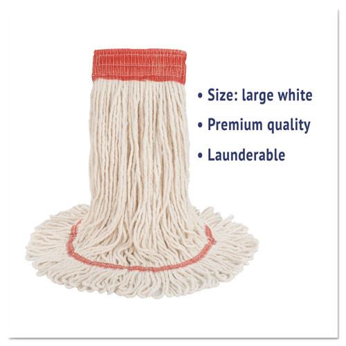 Boardwalk Super Loop Wet Mop Head  Cotton Synthetic Fiber  5  Headband  Large Size  White (BWK503WHEA)