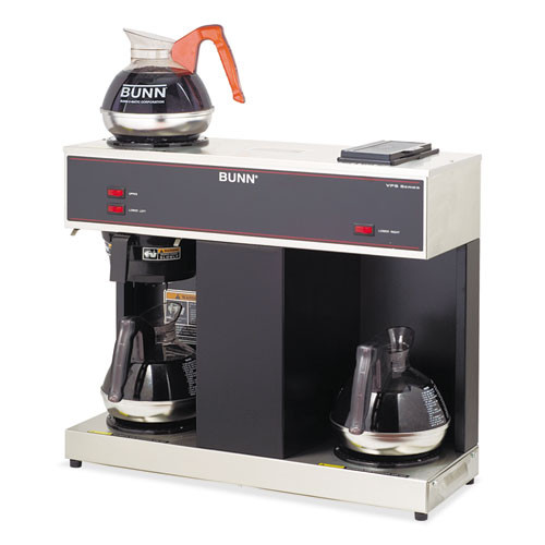 BUNN Pour-O-Matic Three-Burner Pour-Over Coffee Brewer  Stainless Steel  Black (BUNVPS)