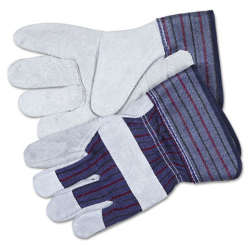 MCR Safety Split Leather Palm Gloves  Large  Gray  Pair (CRW12010L)