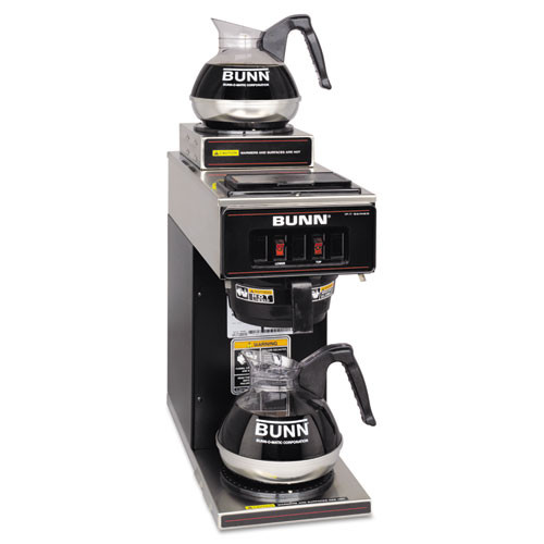 BUNN VP17-2 Compact Two Burner Pourover Coffee Brewer  Stainless Steel  Black (BUNVP172BLK)
