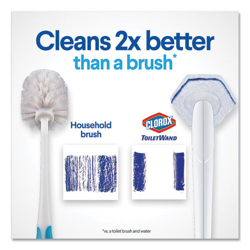 Clorox Toilet Wand Disposable Toilet Cleaning Kit  Handle  Caddy   Refills  White (CLO03191)