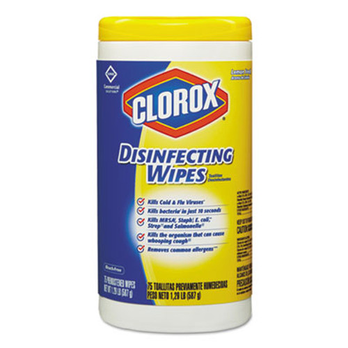 Clorox Disinfecting Wipes, 7 x 8,  Lemon Fresh, 75/Canister (CLO15948EA)