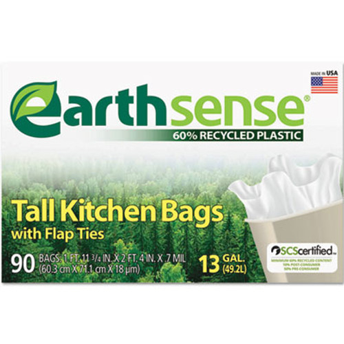 Earthsense Recycled Can Liners  13 gal  0 7 mil  23 75  x 28   White  90 Box (WBIGES6FK90)
