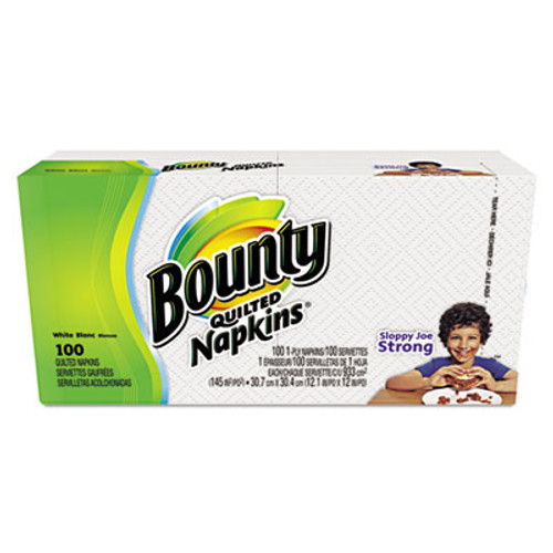Bounty Quilted Napkins, 1-Ply, 12.1 x 12, White, 100/Pack, 20 Packs per Carton (PGC34884)