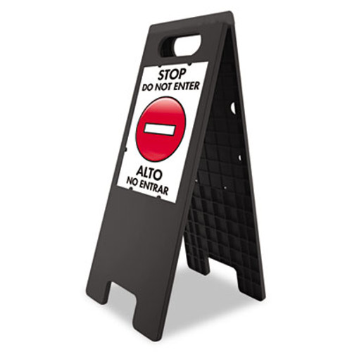 "Headline Sign Floor Tent Sign, Doublesided, Plastic, 10 1/2"" x 25 1/2"", Black (USS5694)"
