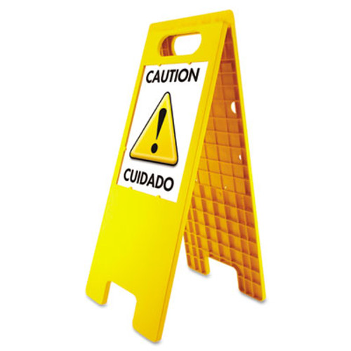 Headline Sign Floor Tent Sign  Doublesided  Plastic  10 1 2  x 25 1 2   Yellow (USS5693)
