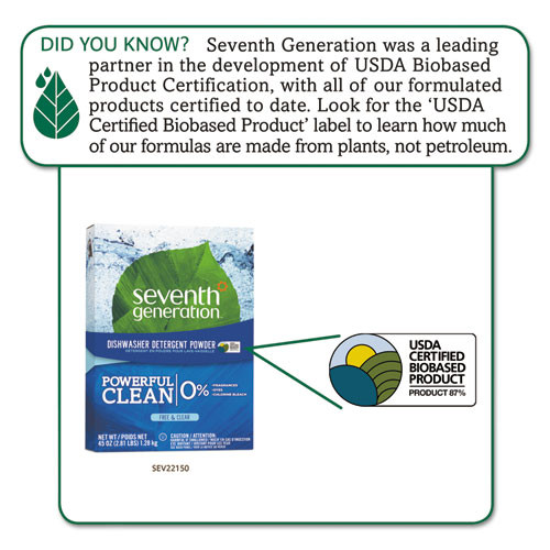Seventh Generation Automatic Dishwasher Powder  Free and Clear  45oz Box (SEV22150EA)