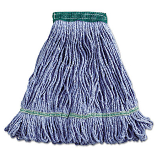 Boardwalk Super Loop Wet Mop Head  Cotton Synthetic Fiber  5  Headband  Medium Size  Blue (BWK502BLEA)