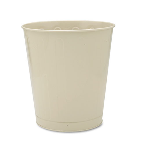 Rubbermaid Commercial Fire-Safe Wastebasket  Round  Steel  6 5 gal  Almond (RCPWB26AL)