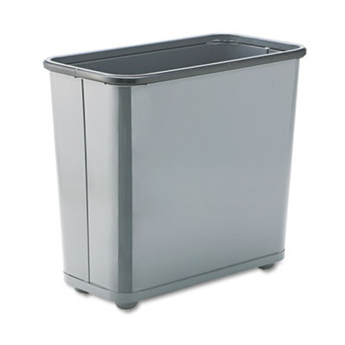 Rubbermaid Commercial Fire-Safe Wastebasket, Rectangular, Steel, 7.5gal, Gray (RCPWB30RGY)