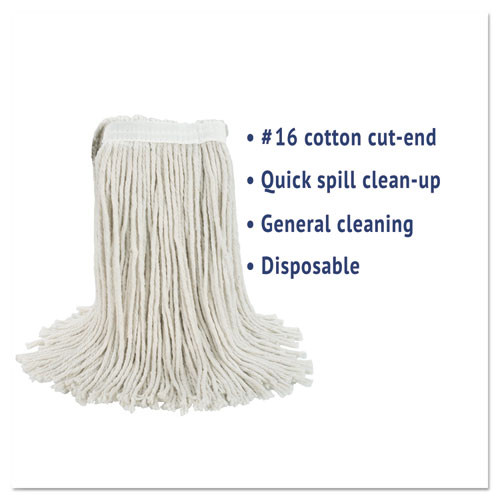 Boardwalk Cut-End Wet Mop Head  Cotton  No  16 Size  White (BWK2016CEA)