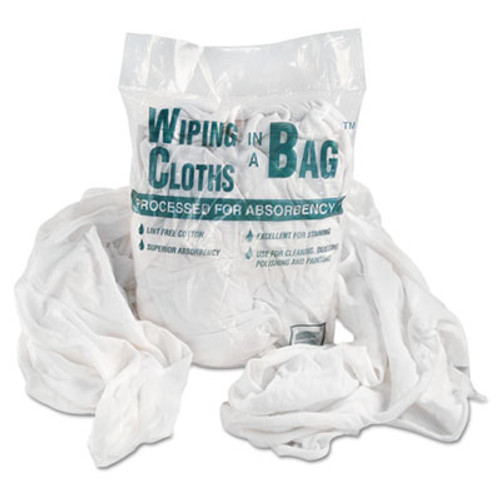 General Supply Bag-A-Rags Reusable Wiping Cloths, Cotton, White, 1lb Pack (UFSN250CW01)