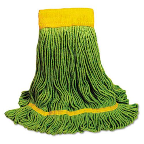 Boardwalk EcoMop Looped-End Mop Head  Recycled Fibers  Medium Size  Green (BWK1200MEA)