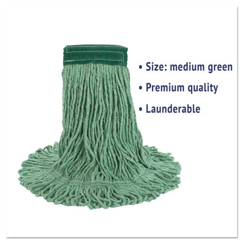 Boardwalk Super Loop Wet Mop Head  Cotton Synthetic Fiber  5  Headband  Medium Size  Green (BWK502GNEA)