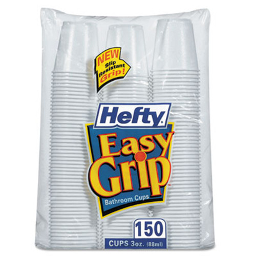 Hefty Easy Grip Disposable Plastic Bathroom Cups  3oz  White  150 Pack (RFPC20315)