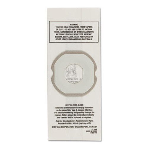 Shop-Vac Hippo Disposable Filter Bags  5 Pack (SHO9014600)