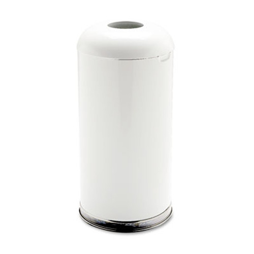 Rubbermaid Commercial Fire-Resistant Open Top Receptacle, Round, Steel, 15gal, White (RCPR32EGLW)