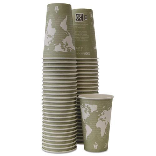 Eco-Products World Art Renewable Compostable Hot Cups  16 oz  Moss  50 Pack (ECOEPBHC16WAPK)